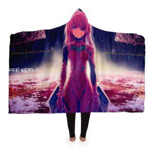Evangelion Asuka Sky Hooded Blanket Official Evangelion Merch