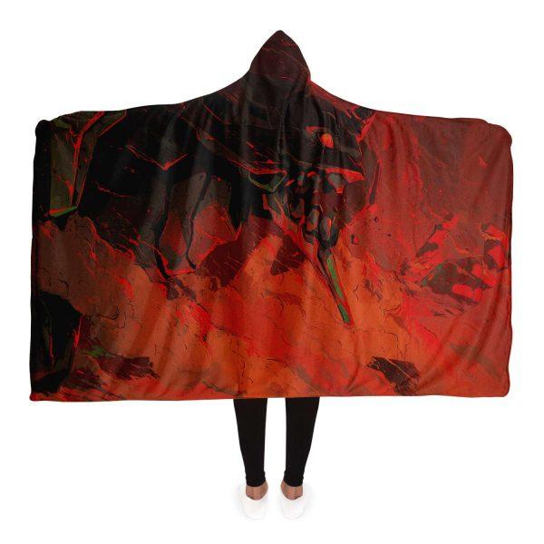 Evangelion Red Black 3D Hooded Blanket Official Evangelion Merch
