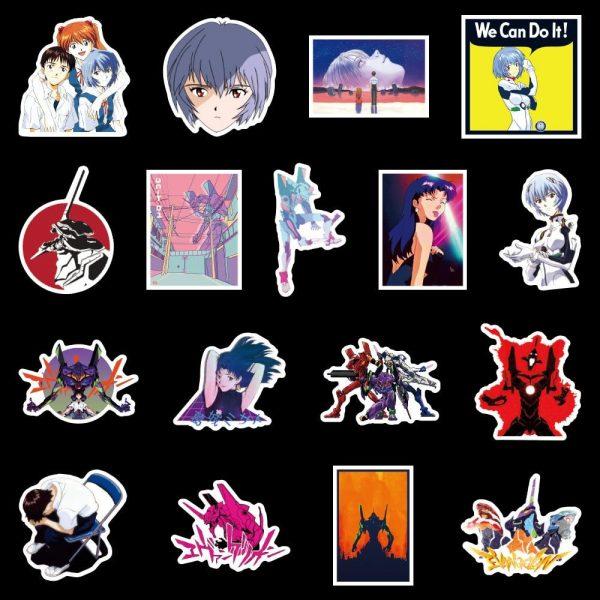 50pcs Evangelion Stickers Comic Waterproof Official Evangelion Merch