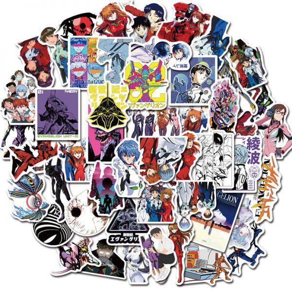 50PCS Cartoon Anime Evangelion Sticker Genesis Japanese Comic Decal Waterproof DIY Car Suitcase Graffiti Guitar Sticker 1 - Evangelion Merch
