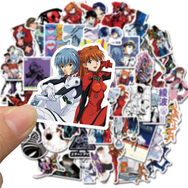 50PCS Cartoon Anime Evangelion Sticker Genesis Japanese Comic Decal Waterproof DIY Car Suitcase Graffiti Guitar Sticker 2 - Evangelion Merch