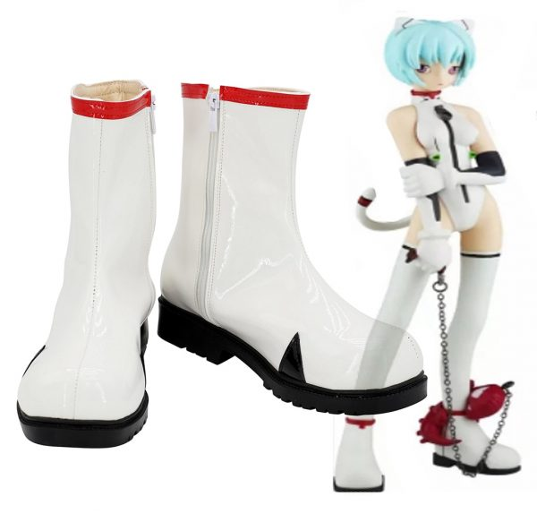 EVA Rei Ayanami Cosplay Boots White Leather Shoes Custom Made Any Size - Evangelion Merch