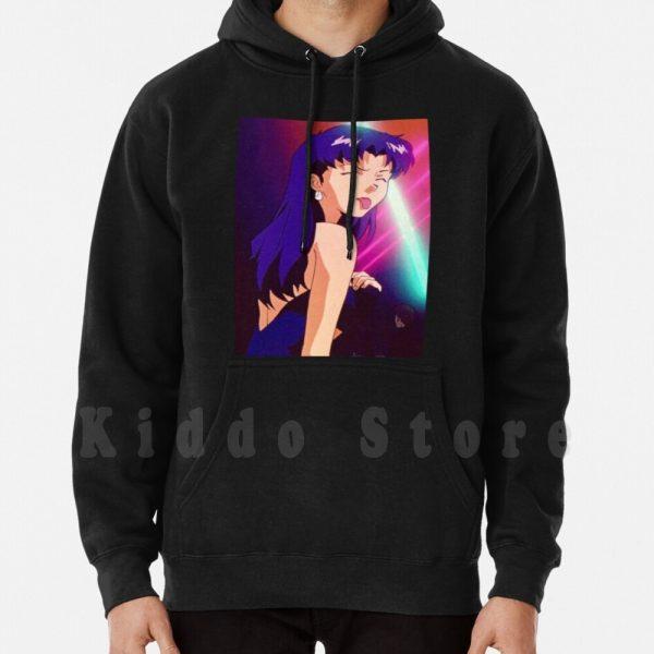 Evangelion Misato hoodies long sleeve Anime Manga Girl Woman Misato Katsuragi Club Clubbing Lights Sad - Evangelion Merch