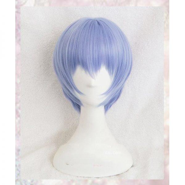 High Quality Anime EVA Short Light Blue Hair Ayanami Rei Heat Resistant Wig Cosplay Headwear Haripins 2 - Evangelion Merch