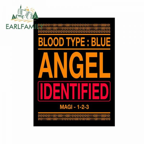 EARLFAMILY 13cm x 9 8cm for Evangelion Angel Identified Car Stickers Personality Motorcycle Surfboard Decal VAN - Evangelion Merch