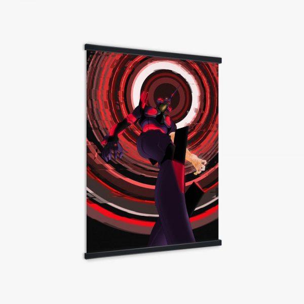 Wall Decor Picture Anime Print Evangelion Unit 01 Mecha Neon Swirl Modular Poster Black Wooden Frame 1 - Evangelion Merch