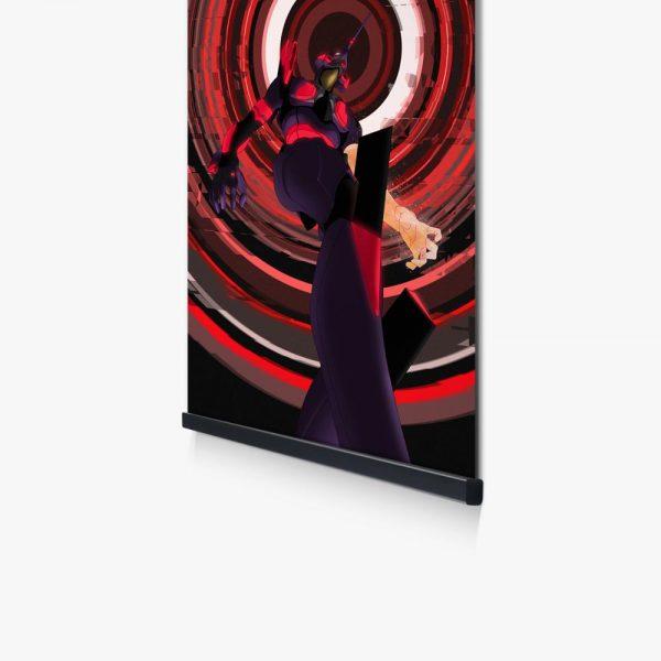 Wall Decor Picture Anime Print Evangelion Unit 01 Mecha Neon Swirl Modular Poster Black Wooden Frame 3 - Evangelion Merch