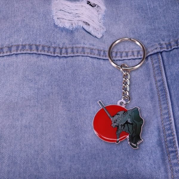 Evangelion EVA 01 Mecha Keychain Red Sun Keyring Feel Japan NGE Anime Series Charms 5 - Evangelion Merch