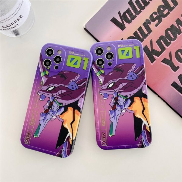Japanese anime Evangelion silicone Phone Case for iPhone 12 Pro Max 11 7 8 Plus XR 1 - Evangelion Merch
