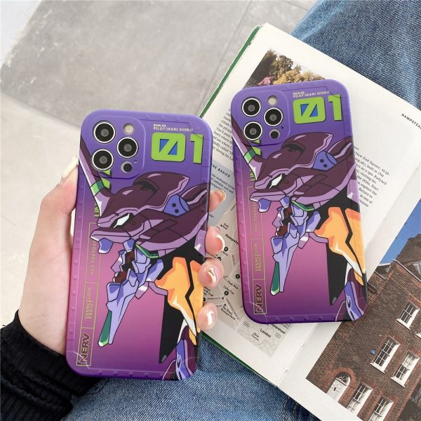 Japanese anime Evangelion silicone Phone Case for iPhone 12 Pro Max 11 7 8 Plus XR - Evangelion Merch